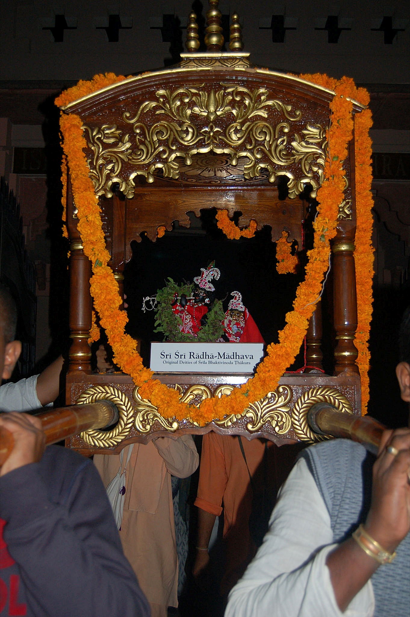 Radha Madhava carried to the altar in ISKCON Vrindavan