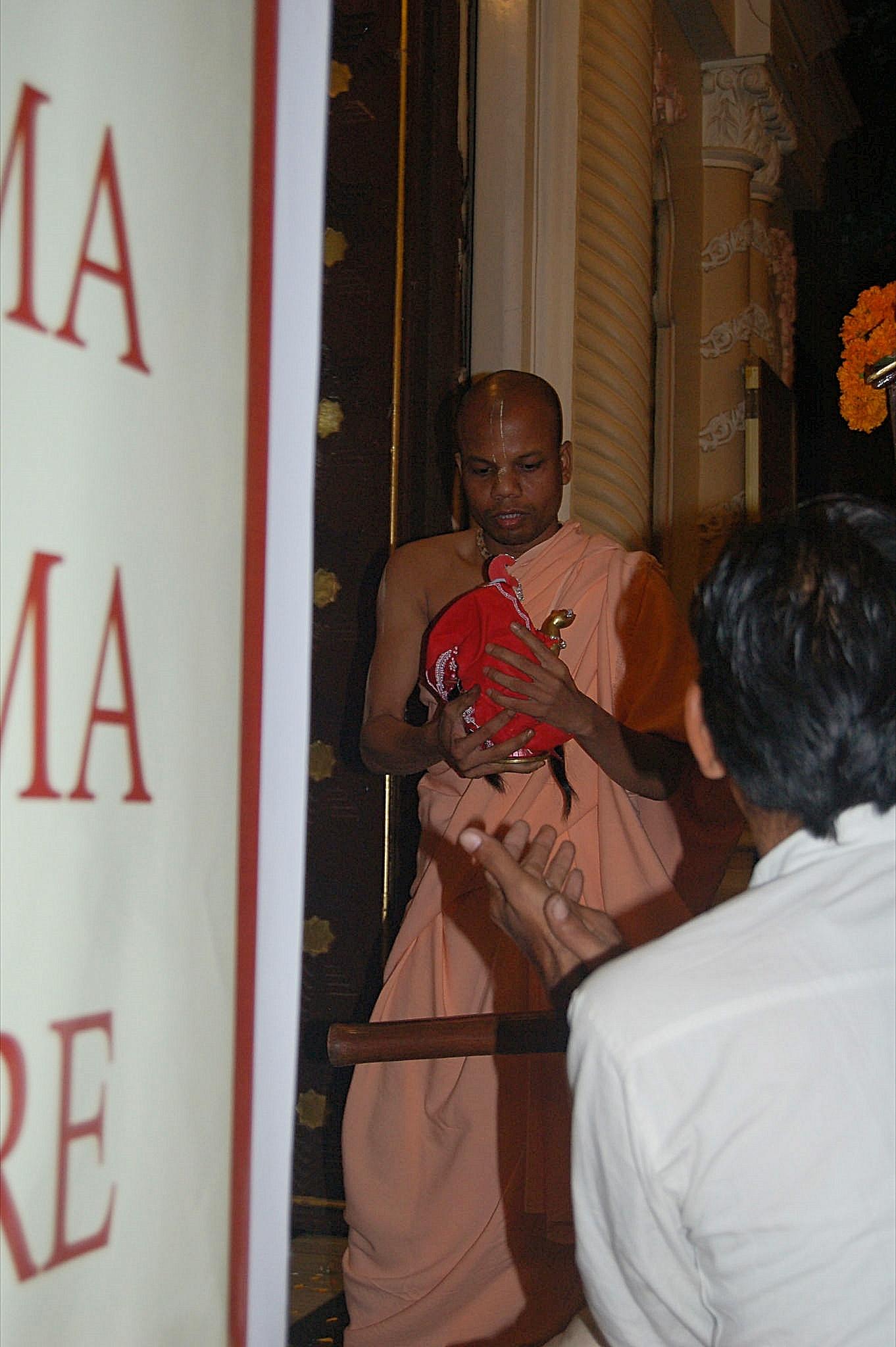 Sri Radha carried to the altar in ISKCON Vrindavan